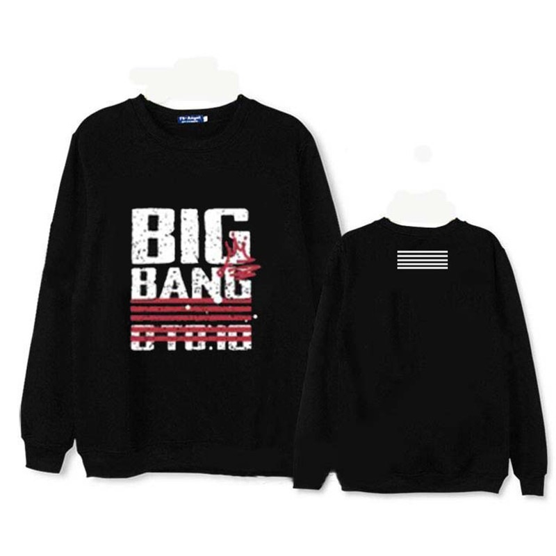 2017 KPOP Long Sleeve Sweatshirts Korean BIGBANG 10th Anniversary Album Hoodie K-POP Cotton Hoodies Clothes Pullover Printed