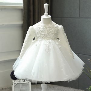 Baby Girl Wedding Dress Long Sleeve Newborn Girls Christmas Princess Gowns Beads Lace Infant Kids 1 Year Birthday Baptism Dress(China)