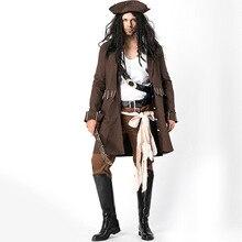 Piratas del Caribe capitán Jack Sparrow Cosplay traje trajes de Halloween  para hombres adultos Sparrow Costume por encargo 66987ab4549