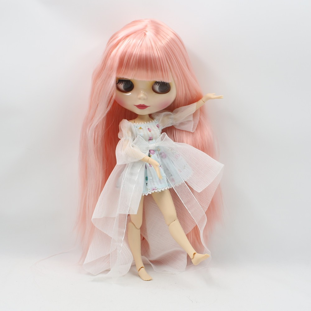 Neo Blythe Doll with Pink Hair, White Skin, Shiny Face & Jointed Body 2