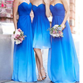Amazing Nice Chiffon Long bridesmaid Dresses Strapless Gradient Blue color Fashion Wedding Guest Dresses Vestido Festa  Z1098
