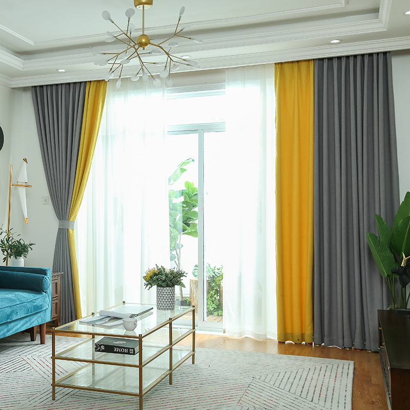 Byetee Solid Color Curtains For Living Room Yellow Grey Kitchen Bedroom Curtains Customize Finished Window Drapes Aliexpress