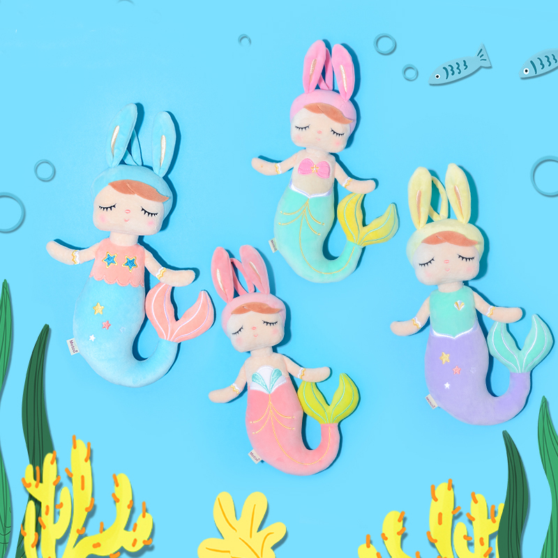 Metoo Plush Toys Angela Mermaid Dolls with Box Dreaming Girl Plush Rabbit Stuffed Gift Toys for Kids