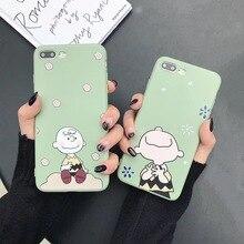Japanese cute cartoon anime Charlie Brown Phone case For iphone 6 6s 7 8 plus X
