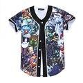 Hip Hop Dos Homens/mulheres Jogo T-shirt Unisex de Caracteres de Impressão Dos Desenhos Animados 3d Adorável Baseball Jersey Verão Encabeça Botão Camisas Livre grátis