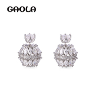 GAOLA High Quality Cubic Zirconia Jewelry Round Ball Stud Earrings Women Girl Horse Eye Earring Christmas