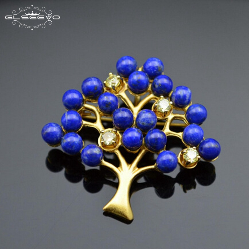 GLSEEVO Natural Lapis Lazuli Olivine Tree Brooch Pins And Brooches Gifts For Women Accessories Luxury Jewellery Dual Use GO0093 glseevo natural lapis lazuli flower brooch pins and brooches for women accessories birthday gifts dual use luxury jewelry go0183