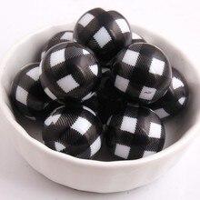 Kwoi Vita 100 adet/grup 20mm Akrilik beyaz katı boncuk baskı siyah Ekose Tıknaz Boncuk Kolye Takı