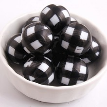 Kwoi Vita 100pcs/lot 20mm Acrylic white solid beads print black Plaid for Chunky Beads Necklace Jewelry