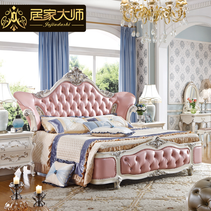 China guangzhou leather modern luxury princess bedroom for Full bedroom furniture sets