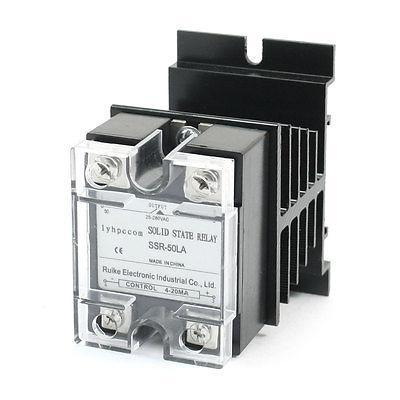 4-20mA to AC 28-280V 50A Single Phase Solid State Relay w Aluminum Heat Sink high quality ac ac 80 250v 24 380v 60a 4 screw terminal 1 phase solid state relay w heatsink