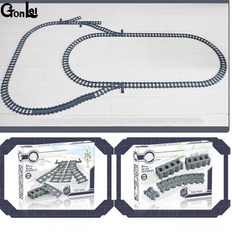 (GonLeI) Neue Zug Streight und Kurve Track Gebäude Ziegel block spielzeug Kompatibel mit Legoings Zug Alle marke