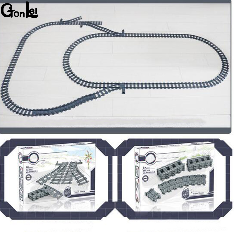 (GonLeI) New Train Streight and Curve Track Building Brick block toys Compatible with Legoings Train All brand
