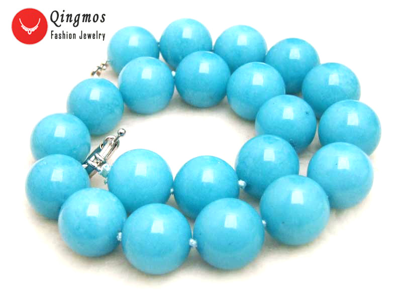"Image 2 - Qingmos Trendy 18mm Sky Blue Round Natural Jades Stone Necklace for Women with Genuine Jades Chokers Necklace 17"" Jewelry ne6281-in Choker Necklaces from Jewelry & Accessories"