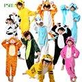 Pijamas infantis para meninas Menino dinossauro pinguim crianças Pikachu Totoro pijamas de Flanela Com Capuz pijamas das crianças do inverno da menina