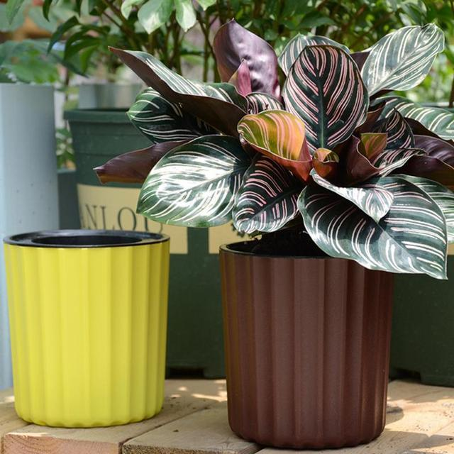 plastic round flower pot artificial plants planter home and garden