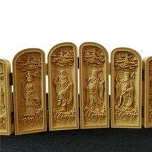 Ocho CAJA PLEGABLE inmortal escultura de madera Feng Shui vintage regalo de Navidad chino especial de madera hecha a mano accesorio de decoración
