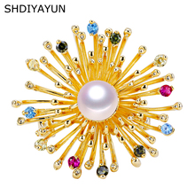 SHDIYAYUN Pearl Brooch For Women Chrysanthemum Texture Flower Brooches Pins Natural Freshwater Pearl Fine Jewelry Accessories cmajor flower shaped brooch with pearl jewelry silver gold color brooches for women