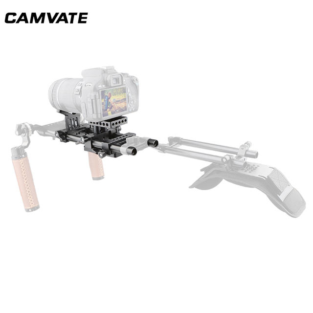 CAMVATE DSLR Camera Shoulder Support Kit With Baseplate Mount & Lens Suppor & Tripod Mounting Plate For Cage/ Tripod/ Stabilizer