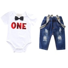 Cute 1st Birthday Outfit for Boy Party Cake Smash 2pcs Baby Suspender Pants + Romper Letter Boys Clothse