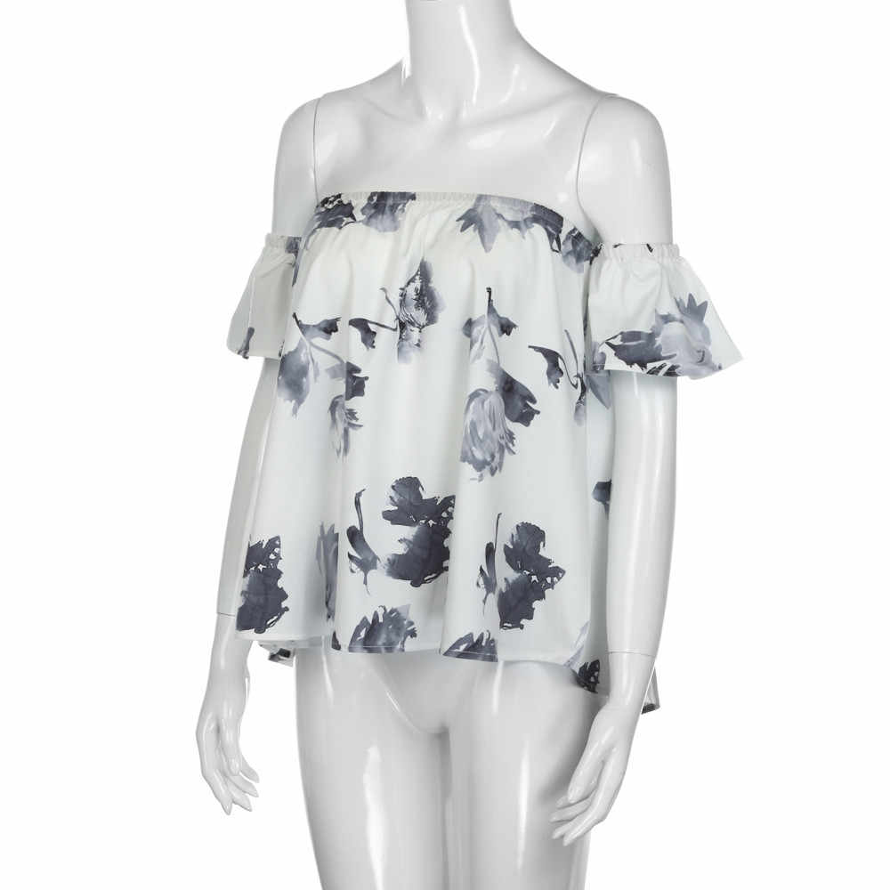 Moda mujer señoras Floral impreso fuera del hombro camisa suelta Blusa Casual de manga corta blusas Tops verano Mujer Blusa