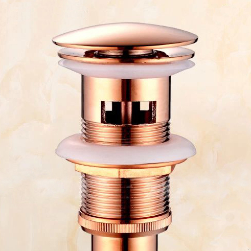 Drains Rose Gold Solid Brass Bathroom Lavatory Faucet Vessel Vanity Sink Pop Up Drain St ...