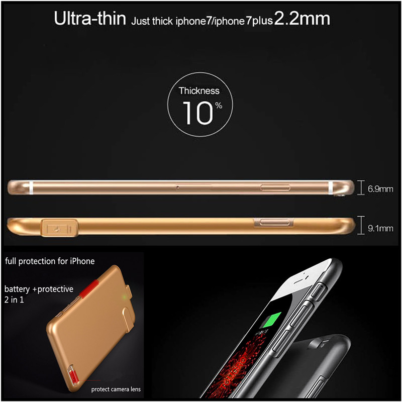 huge selection of ec811 be656 US $17.78 35% OFF|7Plus Slim Case Battery Thin Ultra Smart Charge Cover For  iPhone 7 Plus Luxury Case Black Matt Gold Rose for iPhone7Plus-in ...