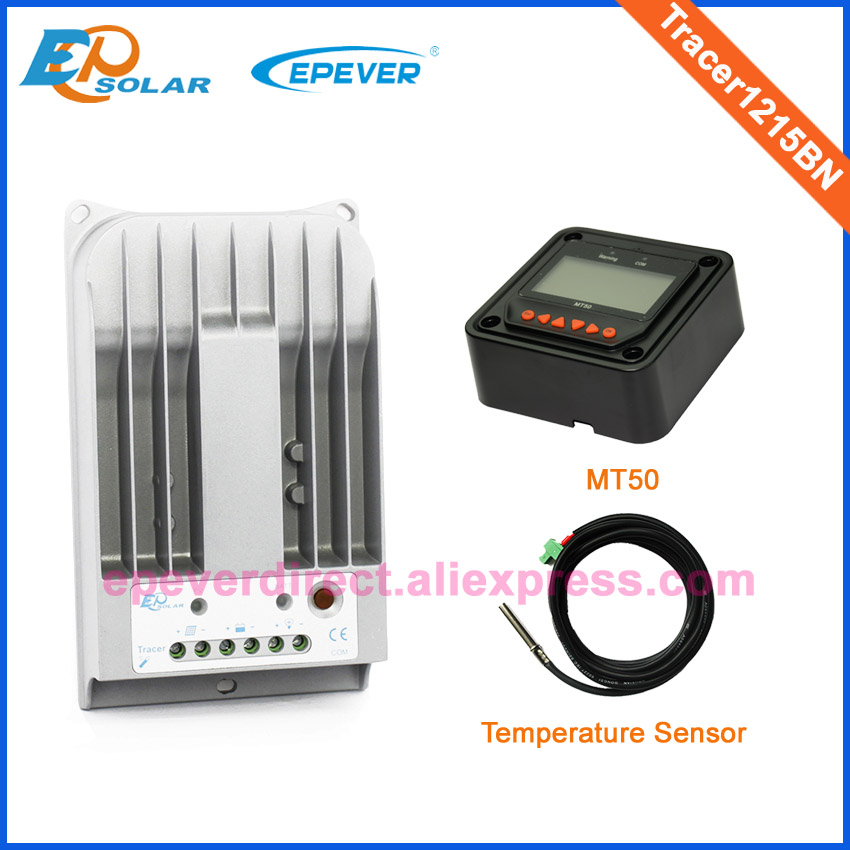 Charger battery 12V 24V auto work Power Bank Controller Tracer1215BN 10A Solar tracer series MT50 Meter and temp sensor cable 12v 24v auto work free shipping battery solar controller tracer1215bn 10a 10amp with usb cable and mt50 remote meter