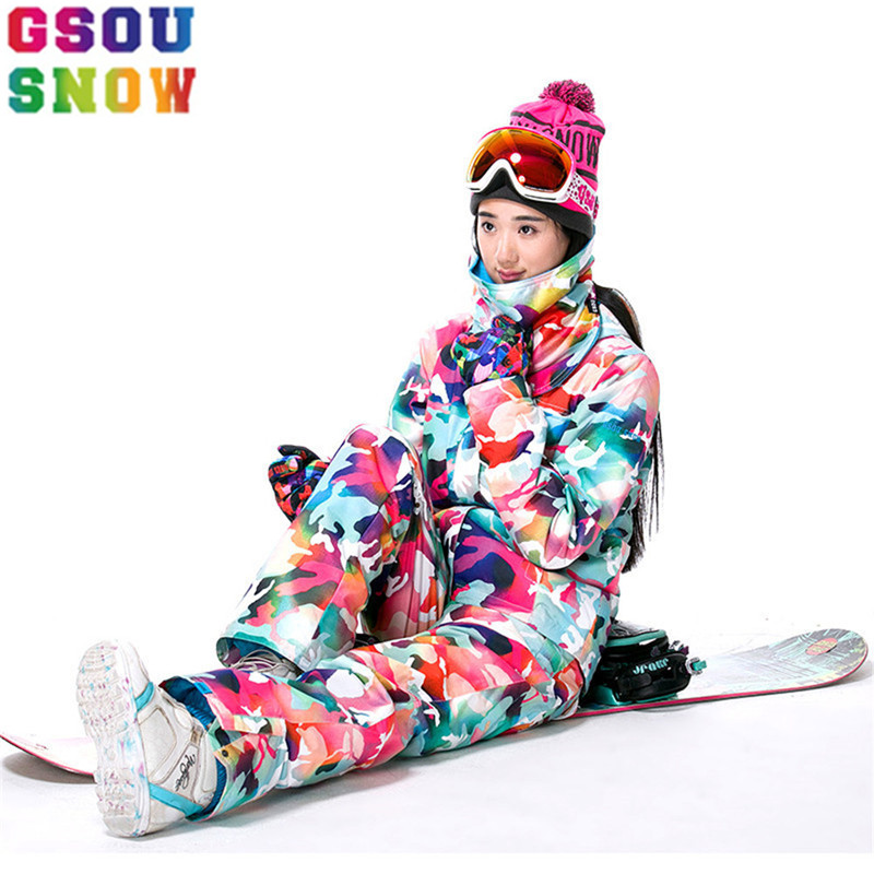 GSOU SNOW Brand Ski Suits Women Ski Jacket+Pants Cheap Camouflage Snowboard Sets Winter Outdoor Camo Snow Jacket Warmth Pants купить