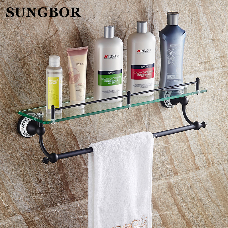 Copper Glass Black Bathroom Shelf Wall Mounted Shower Oil Rubbed Bronze Bathroom Shelve Bathroom Accessories SY-4813H bathroom accessory wall mounted black oil rubbed bronze toothbrush holder with two ceramic cups wba451