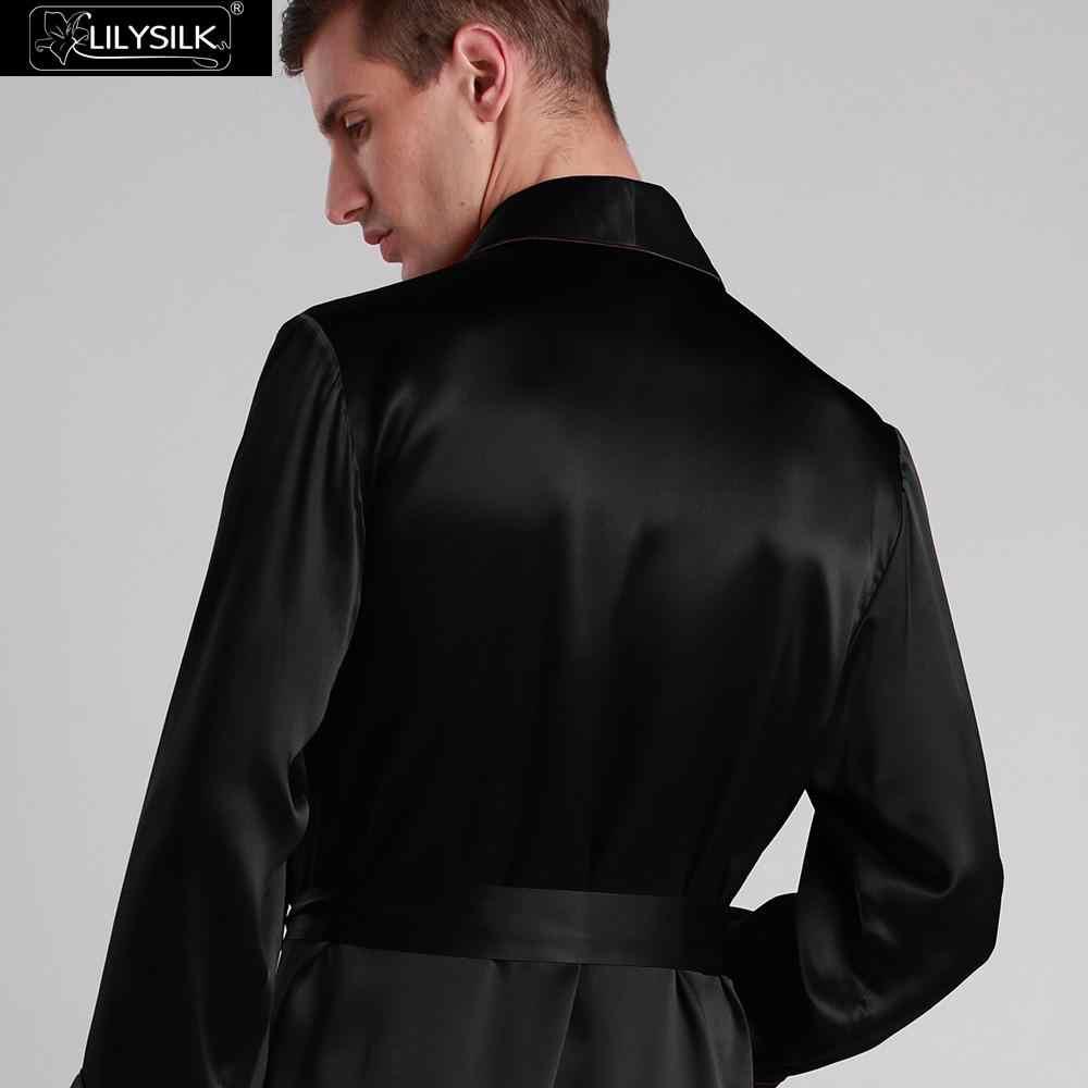 72781985cd0cd ... LilySilk халат мужской кимоно пеньюар домашняя одежда для мужчин  шелковый 22 Momme длинным рукавом углового полная ...