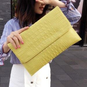 Image 2 - Women Envelope Evening Clutch Bags White Crocodile Pattern Female Genuine Leather Shoulder Bags Crossbody Purses & Handbags A121