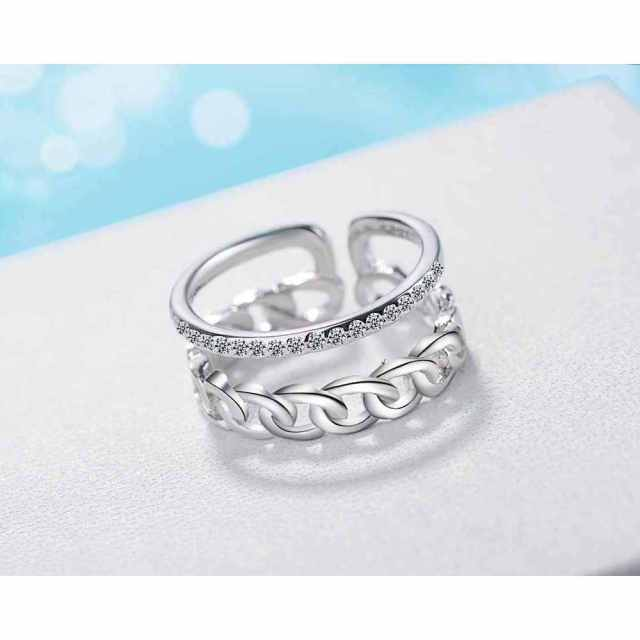PATICO Open Adjustable Finger Ring Vintage S90 Silver Engagement Jewlery Anel 5A CZ Stone Russia Rings Men Punk Jewelry
