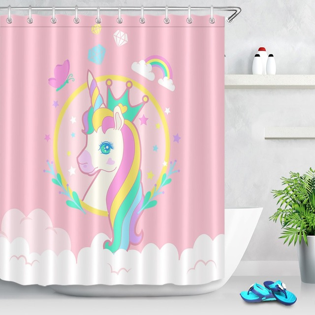 LB Funny Crown Unicorn Rainbow Butterfly Pink Shower Curtains Polyester Bathroom Curtain Fabric For Girl Kid