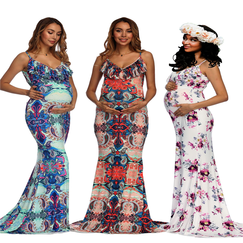 2018 Sexy Maternity Dresses For Photo Shoot Sleeveless Women Pregnancy Dress Photography Props Ruffle Floral Maxi Maternity Gown