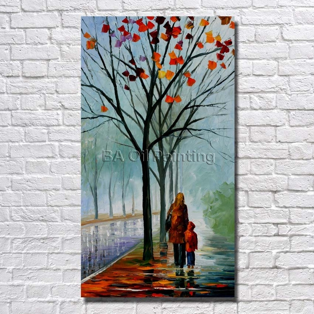 100handpainted Modern Abstract Decorative Mother And Son Oil