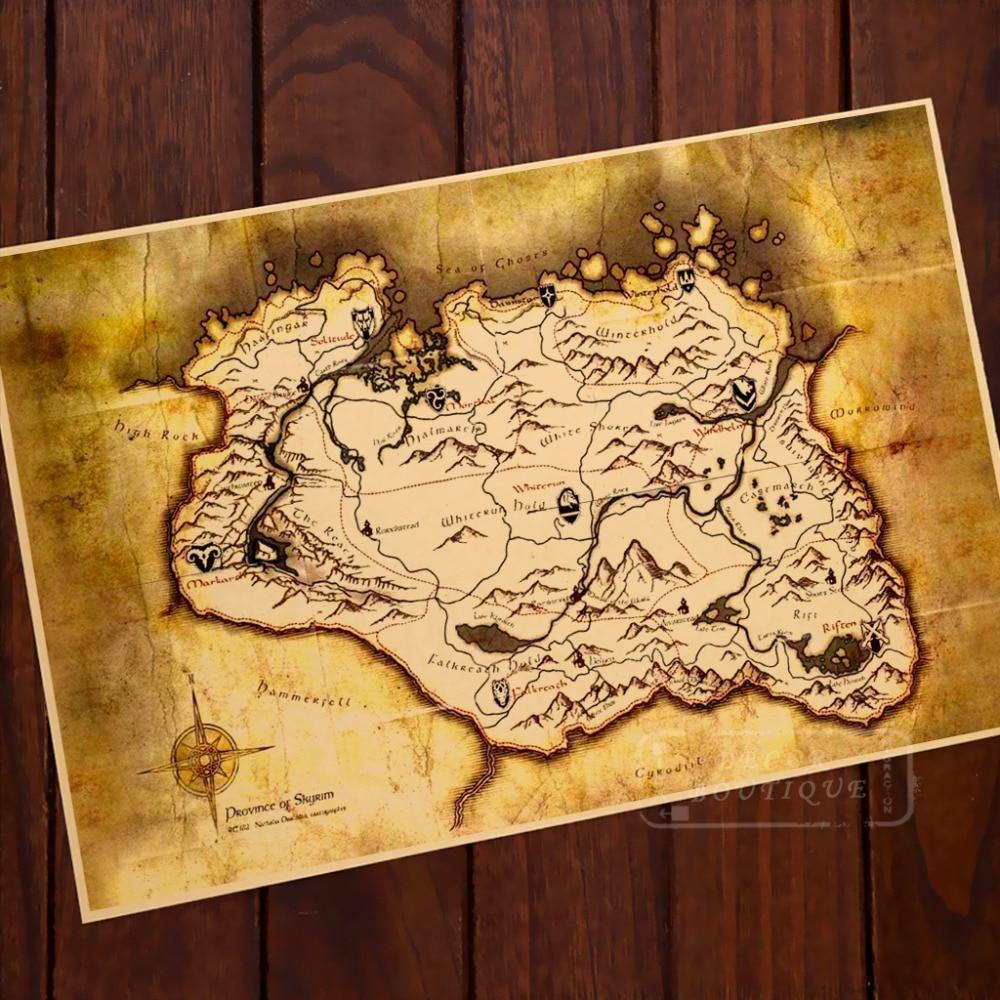 Antique Scroll Map: Map Elder Scrolls Adventure Island Classic Vintage Retro