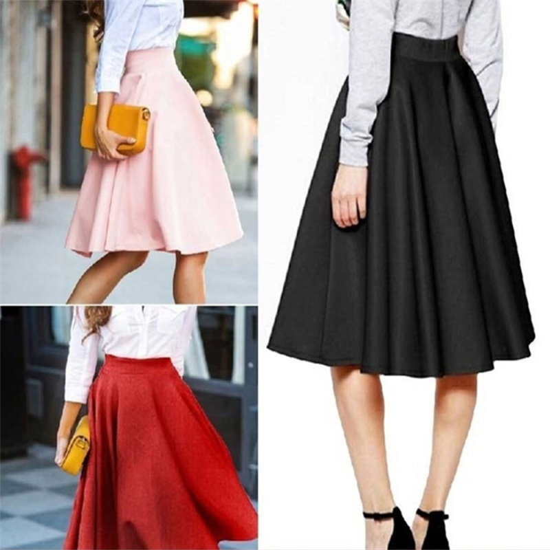 Summer Skirts Womens Solid Causal High Waist Pleated Skirt Midi Skirt A Line Skirts Faldas Mujer Moda 2019 Jupe Femme Clothing