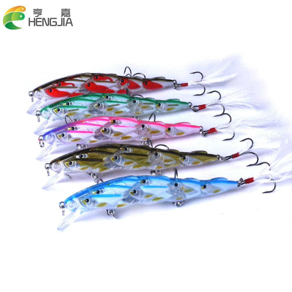 New Arrival Shoal Type Minnow Hard Baits 11.5cm 15.7g Fishing Lure 1pcs 4# Hooks Crankabaits 5 Colors Wobbler With Feather Hook