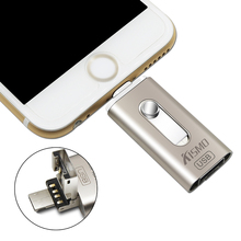 Kismo 3 in 1 i-Flash Drive Metal Otg Micro USB Flash Drive For iPhone 6, 6 Plus 5 5S ipad Android Smartphone 32GB 64GB 128GB