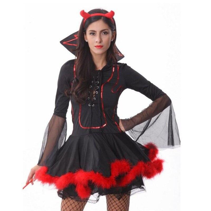Sexy Strega Costume Adulto di Halloween Diavolo Rosso Vestito Costume  Femminile con la Mano Forcella Travestimento di Carnevale Cosplay Partito  Fancy Dress ... ab622ec9fd56