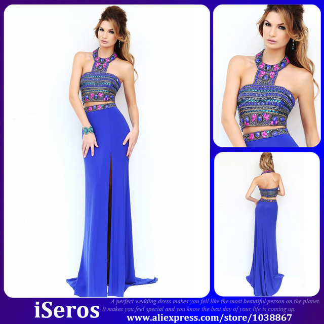 Bohemian Style Fashion Royal Blue Halter Crystals Beads 2 Piece Long