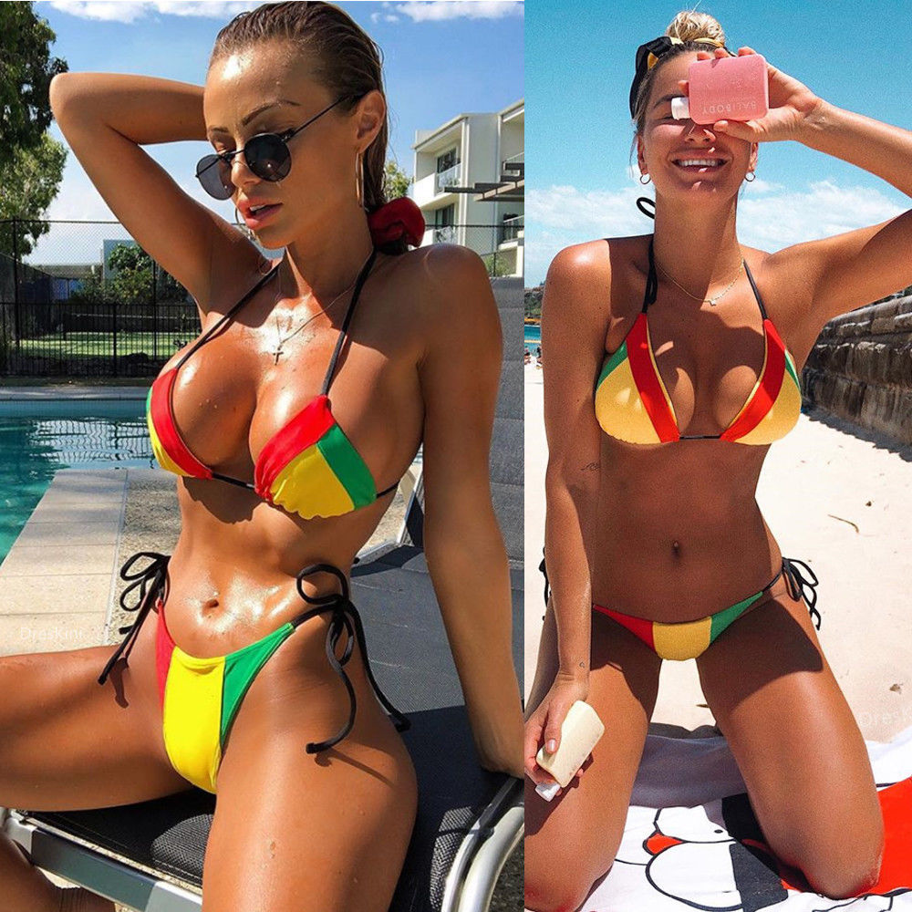 2019 New Fashion Women Swimsuit Summer Sexy Bikini Set Beach Bathing Swimwear  Beach Wear Female Low Waist Red Swimsuit Biquini