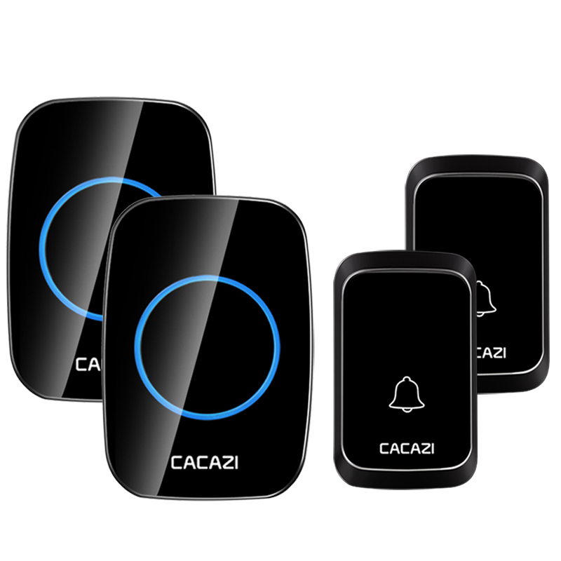 CACAZI Wireless Doorbell 300M Remote Control Waterproof Door Chime Kit 2 Button with 2 Plug-in Receivers Door Bell US EU UK Plug 2 dx in door