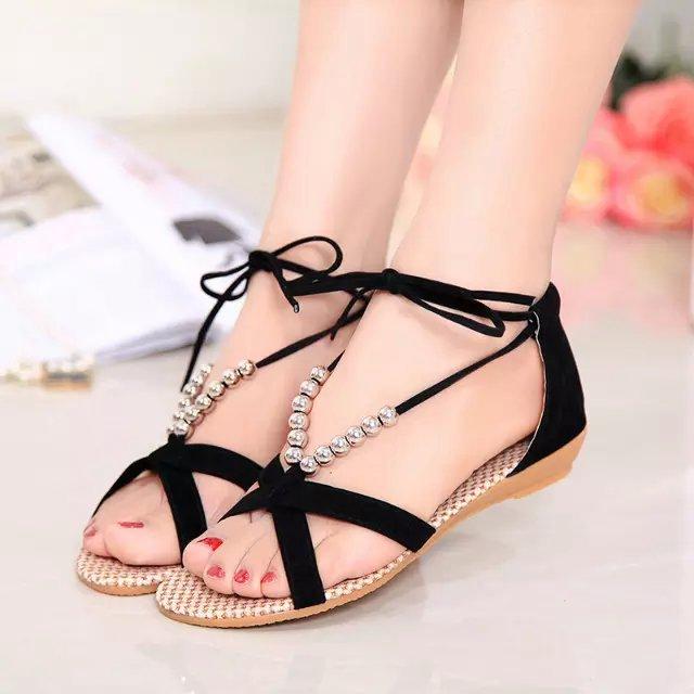 bda412e71490 Women summer shoes 2016 new fashion sandal women wedges beading bohemia sandal  women shoes