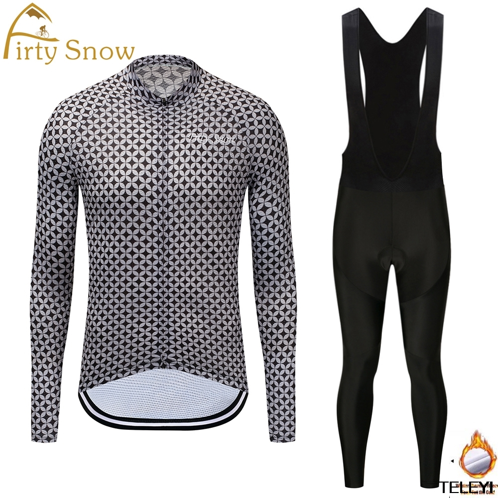 Firty snow 2018 Pro Fabric High Cycling Winter Thermal Fleece Jersey Long Set Ropa Ciclismo Bike Bicycle Clothing Pants W017
