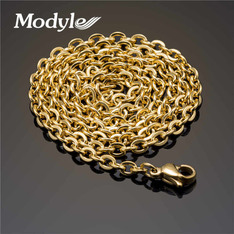 Modyle 2018 New Men Necklace Gold-Color Stainless Steel Necklace Chain Figaro for Gift 45cm-60cm Trendy Jewelry