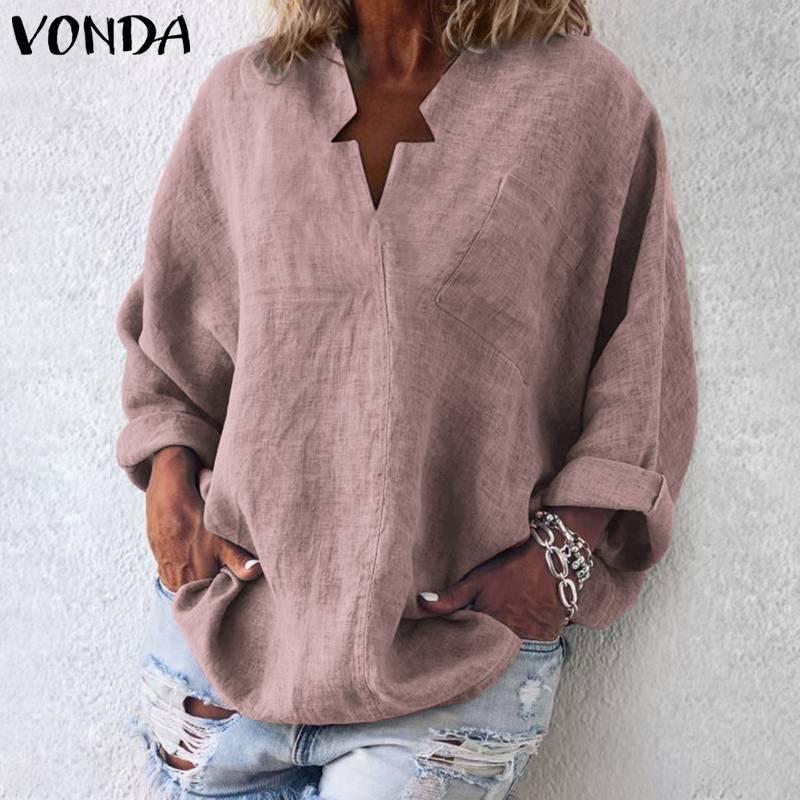 6146795a4 VONDA 6 colores mujer blusa Vintage camisa Casual 2019 otoño manga larga  cuello en V Tops OL Blusas ...