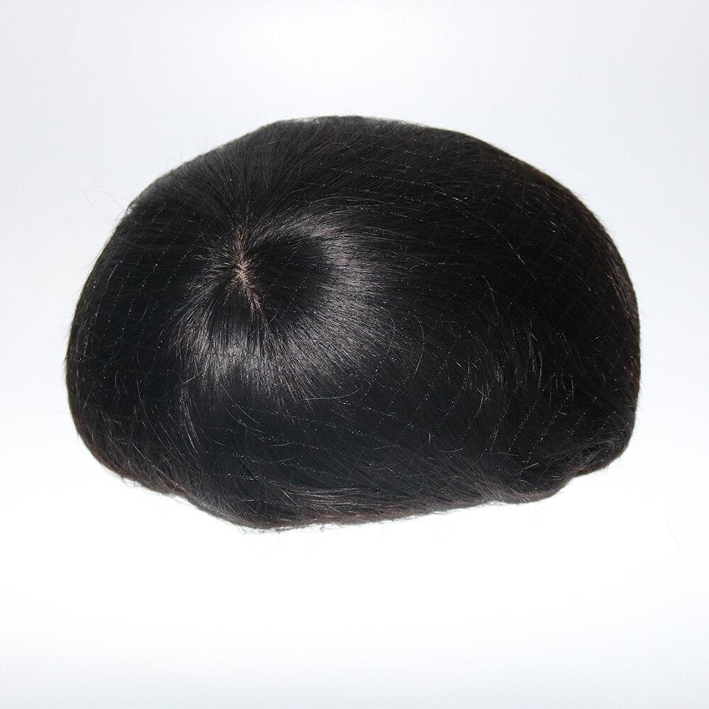 Image 4 - Eversilky шелковая основа с поли вокруг Мужчин Toupee натуральная кожа головы выглядит отбеленные узлы натуральные волосы Замена парик парикиПарики    АлиЭкспресс