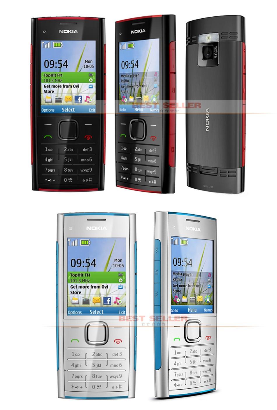 Refurbished phone Nokia X2-00 Bluetooth FM JAVA 5MP Cell Phones Free Shipping black 2